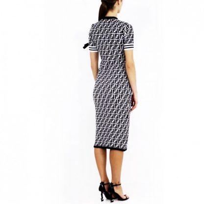 Fendi Zucca Logo B&W Dress Hire Rent
