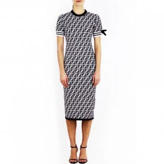 Fendi Zucca Logo B&W Dress Hire Rent
