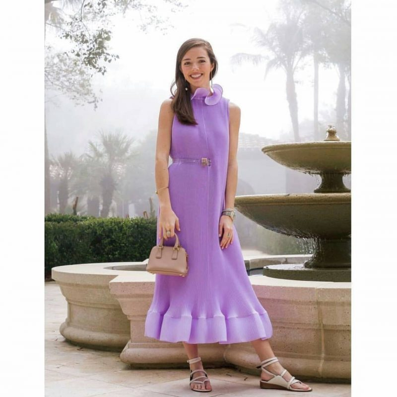 0abc9e932e06 TIBI Pleated Lavender Sleeveless Dress with Belt