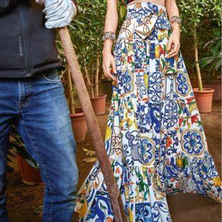 Dolce Gabbana Majolica Maxi Skirt Hire Rent