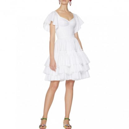 Dolce Gabbana White Bustier Poplin Mini Dress White Dress Hire Rent