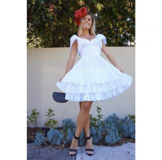 Dolce Gabbana Bustier white frill dress cotton rent hire