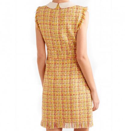 Gucci Yellow Tweed Dress GG Logo Rent Hire