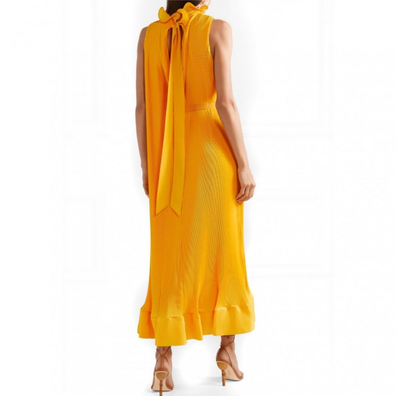 Pleated Yellow Sleeveless Dress with Belt b1690ef3d