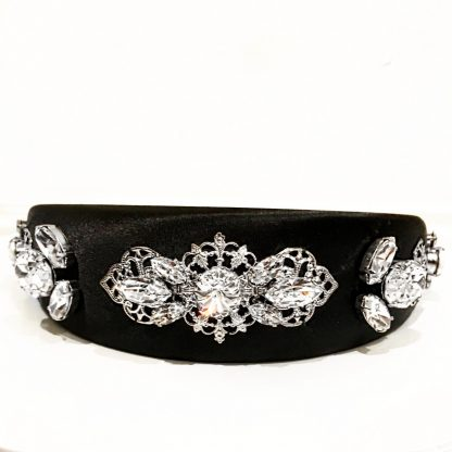 Dolce Gabbana Headband Black Silver Rent Hire Millinery