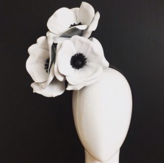 Millinery Jill Poppies Derby Millinery Hire Black White