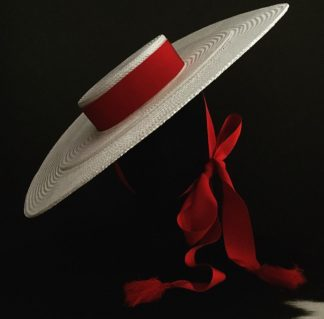 Millinery Jill White Red Boater Rent Hire