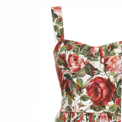 Dolce Gabbana Rose Print Bustier Dress Hire Rent