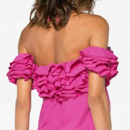 Rosie Assoulin Pink Ruffle Top Hire Rent