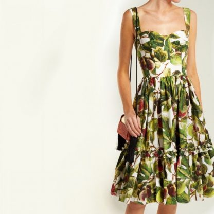Dolce Gabbana Bustier Fig Cotton dress Hire Rent