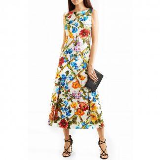 Dolce Gabbana Floral Bamboo Brocade Maxi Dress Rent Hire