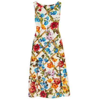 Dolce Gabbana Floral Bamboo Brocade Maxi Dress Rent Hire
