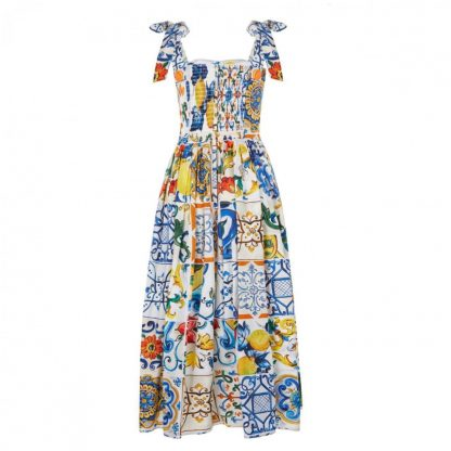 Dolce Gabbana Majolica Long Dress Rent Hire
