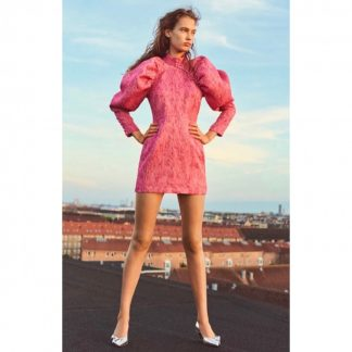 Rotate Pink Jaquard Mini Dress Rent Hire