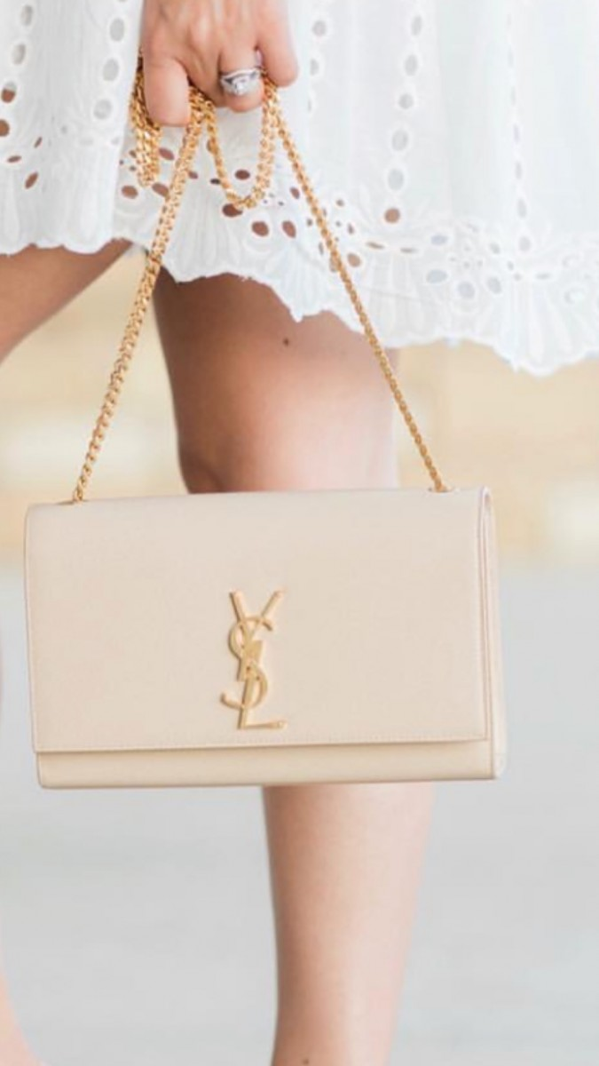 Saint Laurent Classic Monogram Kate Medium Bag Powder