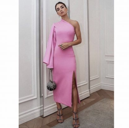 solace london pink one shoulder dress hire rent