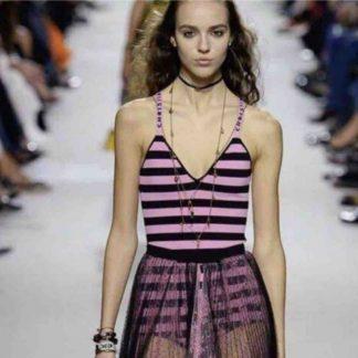 Dior j'adoir logo bodysuit pink black stripe rent hire