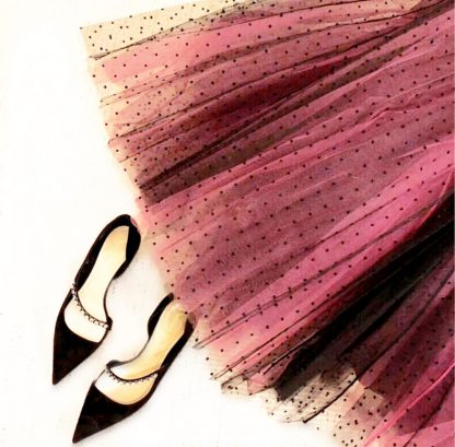 Dior tulle pink black pleated dot skirt rent hire