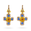 Dolce Gabbana blue yellow cross earrings hire rent