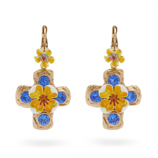 Dolce Gabbana blue yellow cross earrings hire rent