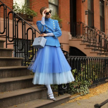 Novis blue tulle pleated blue ombre skirt hire rent