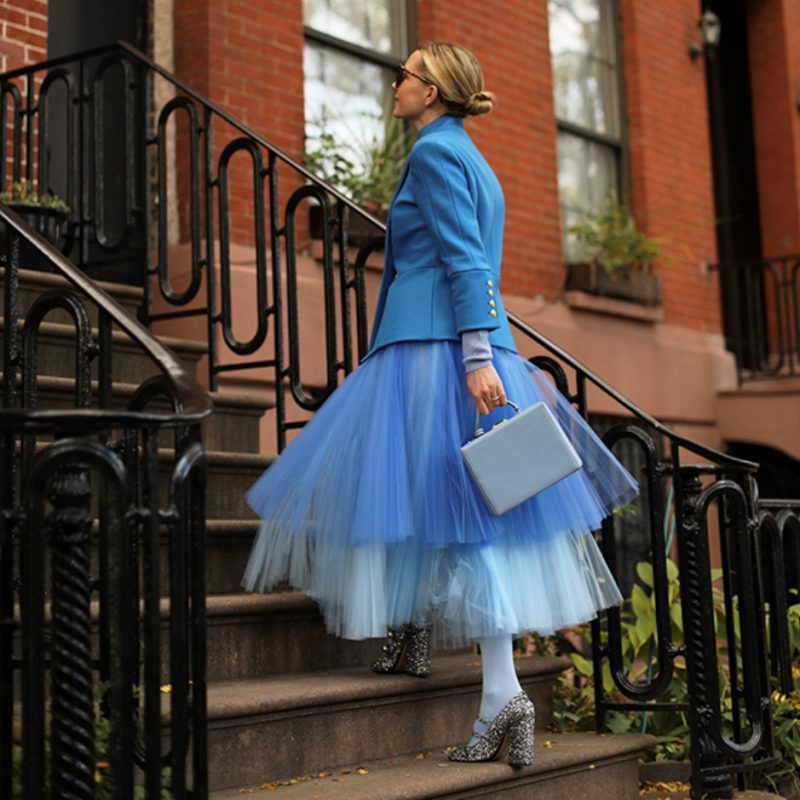 Novis Tulle Pleated Layered Ombre Skirt Blue All The
