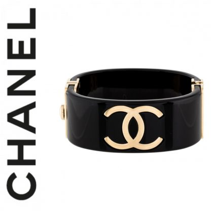 Chanel Resin Black CC Cuff Bracelet Hire Rent