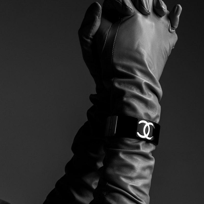 d7e6961d5c7 Chanel Resin Black CC Cuff Bracelet Hire Rent