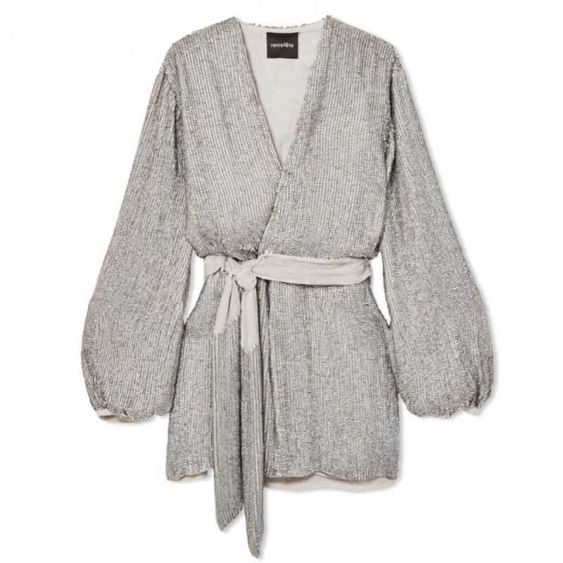 aeb58dc0 Retrofete - Silver Gabrielle Sequin Wrap Mini Dress   All The Dresses