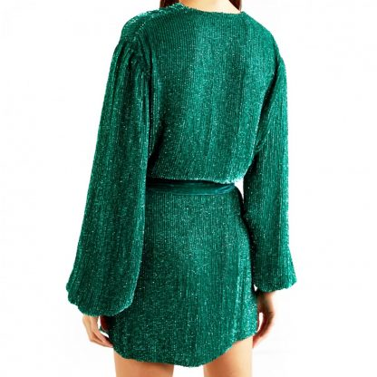 Retrofete Gabrielle Green Sequin Wrap Dress Rent Hire