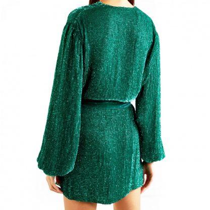 Retrofete Gabrielle Green Sequin Wrap Dress Rent Hire