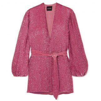 Retrofete Gabrielle Pink Sequin Wrap Dress Rent Hire
