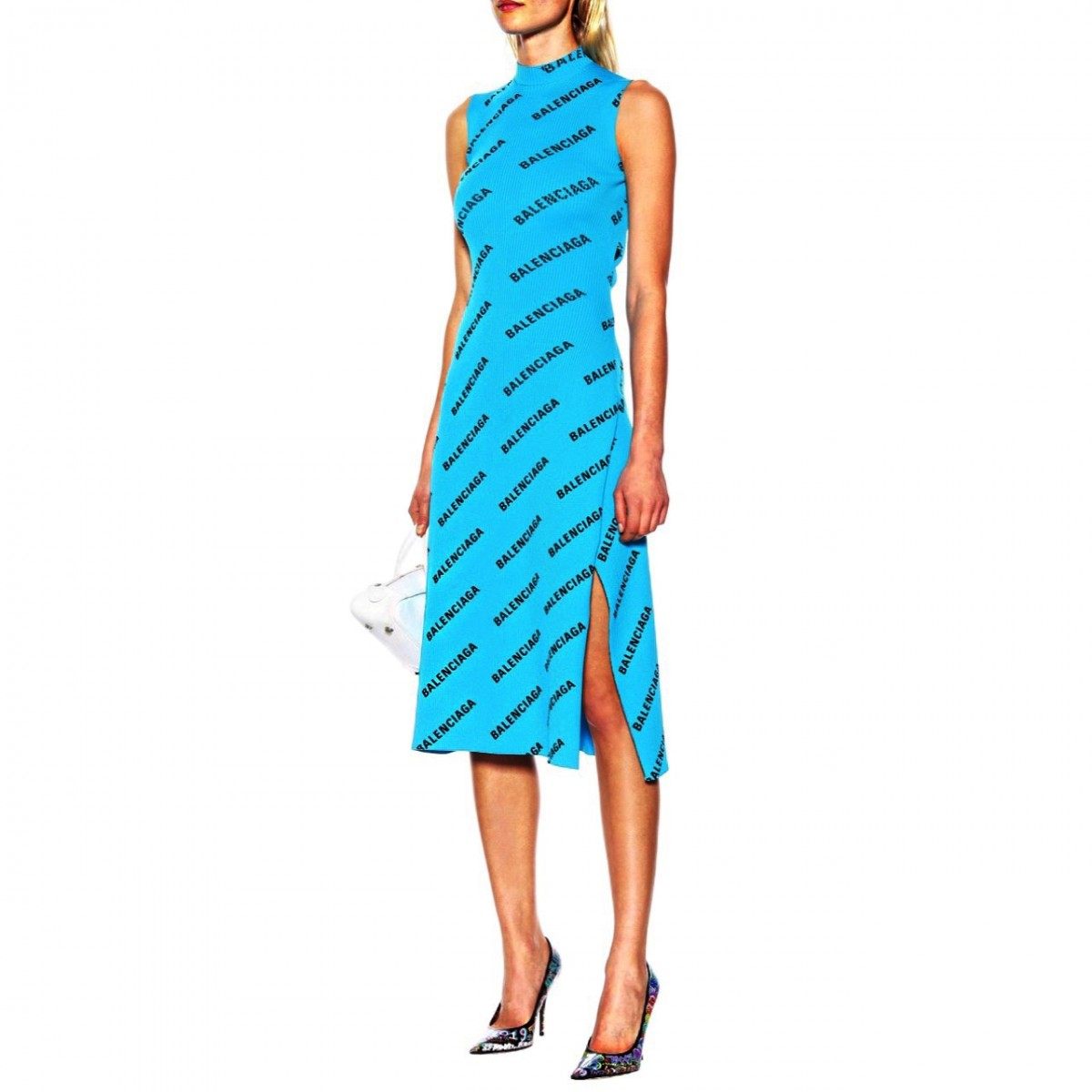 huge sale special sales reputable site BALENCIAGA , Turquoise and Black All Over Logo Wrap Dress - Blue