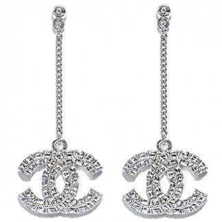 Chanel ss19 silver diamond earrings hire rent