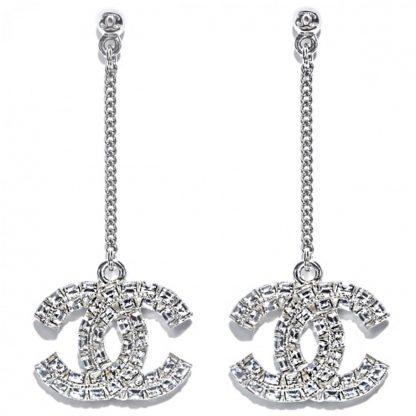 Chanel ss19 silver diamond earrings hire rent