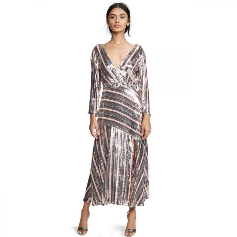 Rixo Tyra Sequin Stripe Midi Dress All The Dresses