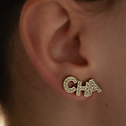 Chanel - CHA NEL Crystal gold earring rent hire