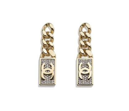 Chanel 2021 chain crystal drop earrings rent hire