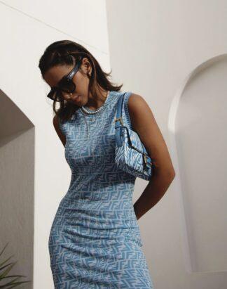 Fendi Blue Vertigo dress Rent Hire Logo Zucca