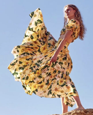 Dolce Gabbana Yellow Camila Maxi skirt crop set 2021