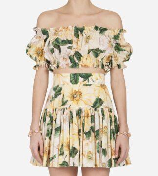 Dolce Gabbana Camellia Yellow Mini Skirt Crop Top Set