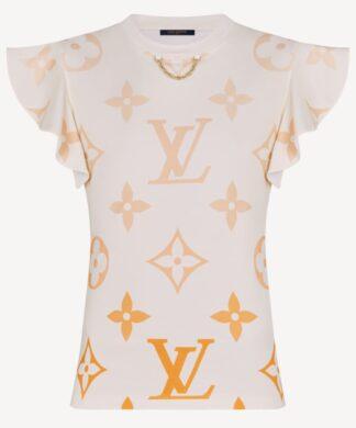 Louis Vuitton LV Ombré Flounce Sleeve T-shirt Rent Hire LV Logo Monogram